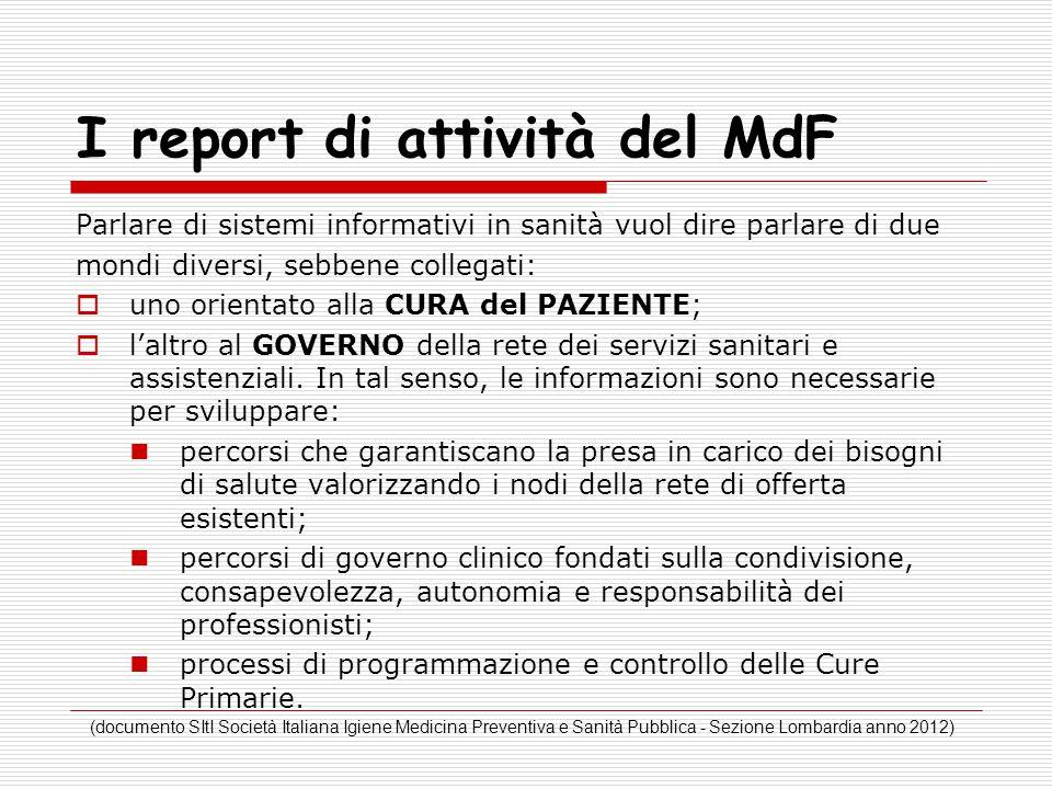 I report di attività del MdF Parlare di sistemi informativi in sanità vuol dire parlare di due mondi diversi, sebbene collegati:  uno orientato alla