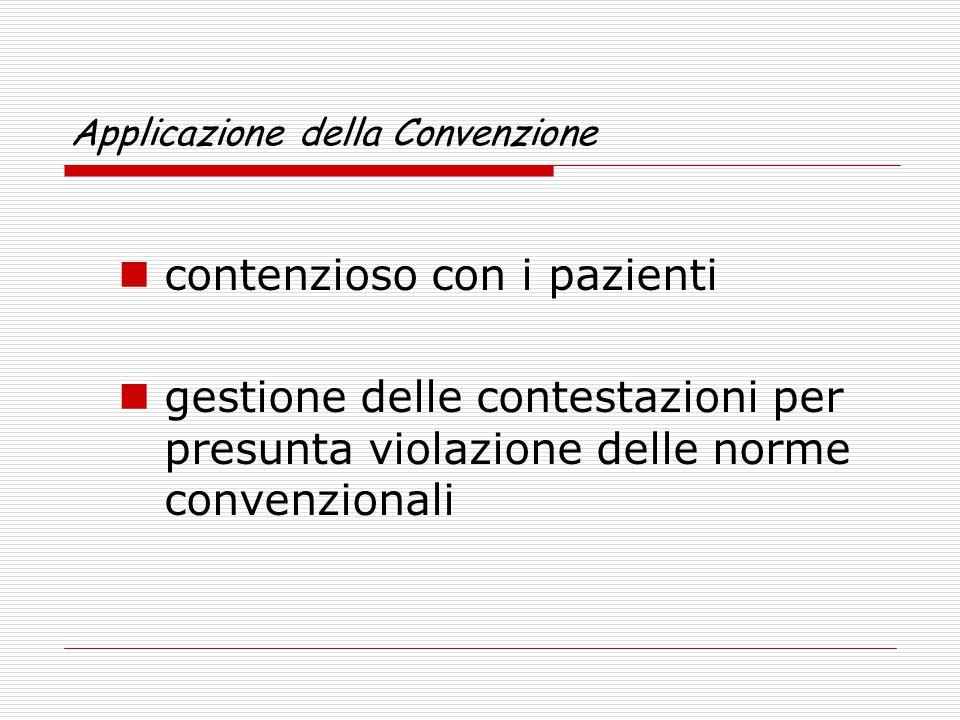 Applicazione della Convenzione contenzioso con i pazienti gestione delle contestazioni per presunta violazione delle norme convenzionali