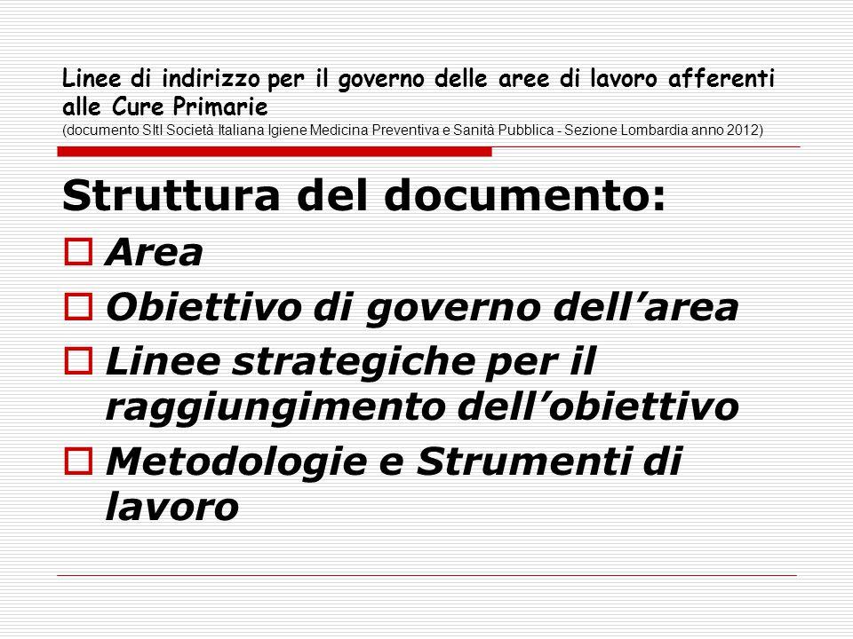 Linee di indirizzo per il governo delle aree di lavoro afferenti alle Cure Primarie (documento SItI Società Italiana Igiene Medicina Preventiva e Sani