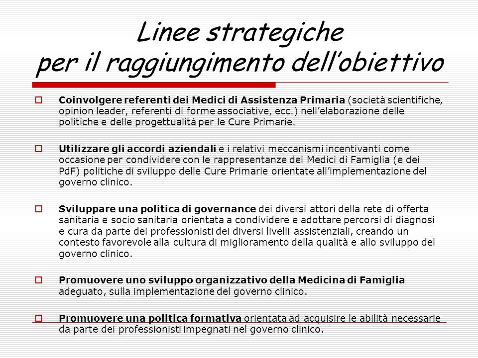 Linee strategiche per il raggiungimento dell'obiettivo  Coinvolgere referenti dei Medici di Assistenza Primaria (società scientifiche, opinion leader