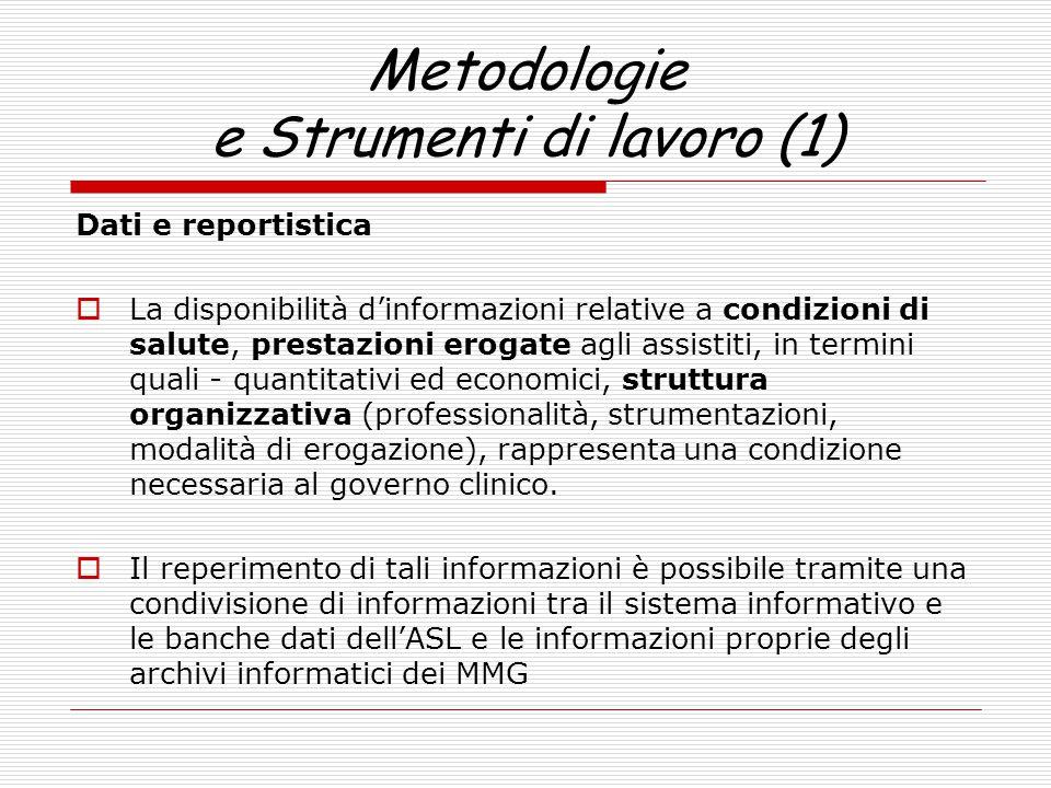 Metodologie e Strumenti di lavoro (1) Dati e reportistica  La disponibilità d'informazioni relative a condizioni di salute, prestazioni erogate agli