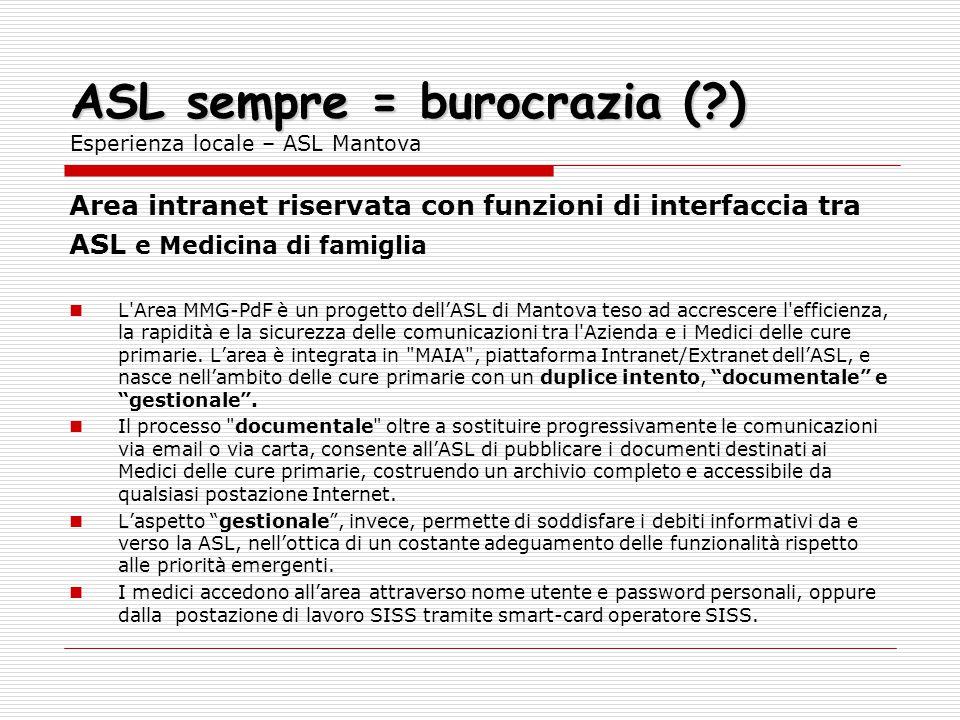 ASL sempre = burocrazia (?) ASL sempre = burocrazia (?) Esperienza locale – ASL Mantova Area intranet riservata con funzioni di interfaccia tra ASL e