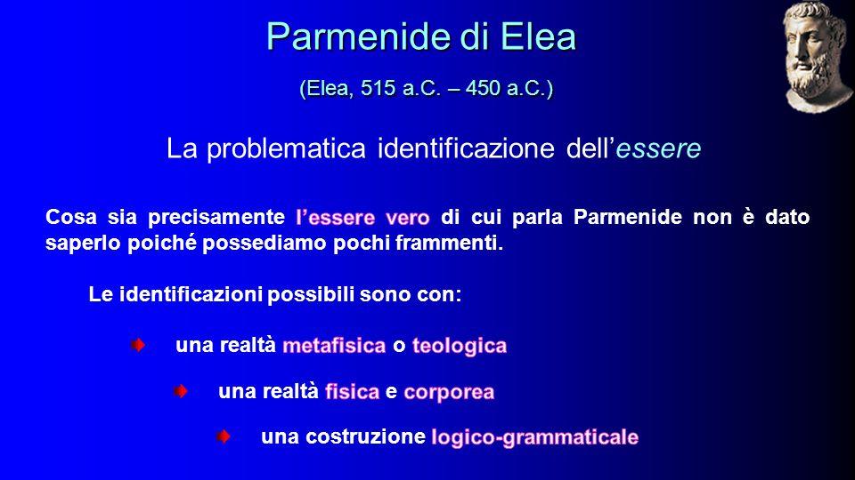 La problematica identificazione dell'essere Parmenide di Elea (Elea, 515 a.C.