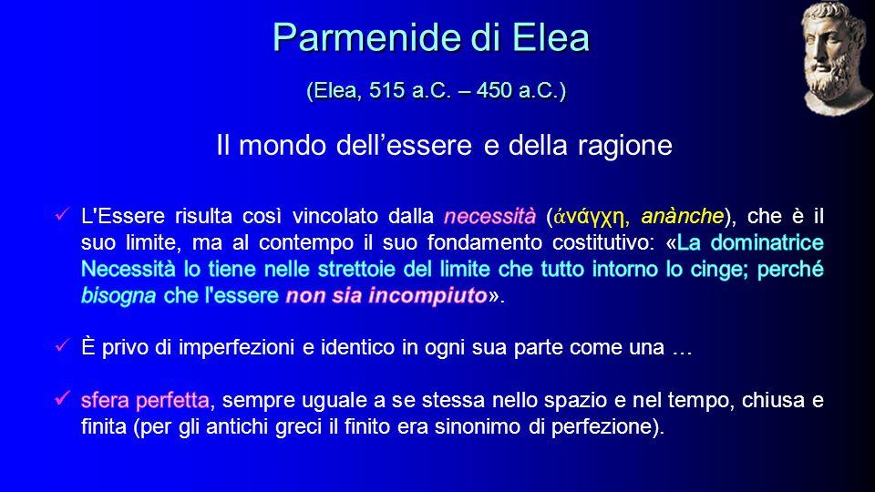 Il mondo dell'essere e della ragione Parmenide di Elea (Elea, 515 a.C.