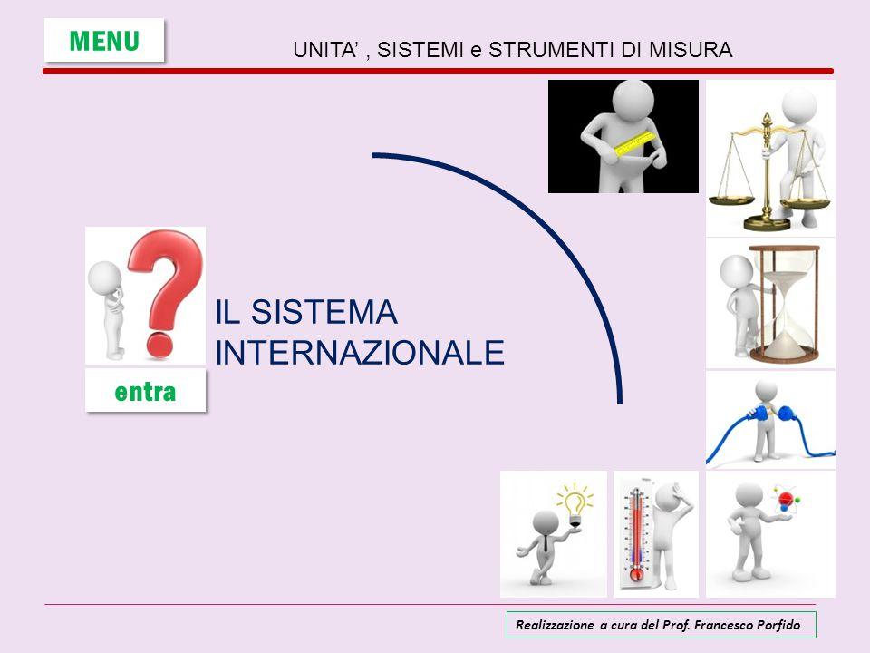 UNITA', SISTEMI e STRUMENTI DI MISURA IL SISTEMA INTERNAZIONALE MENU entra Realizzazione a cura del Prof. Francesco Porfido