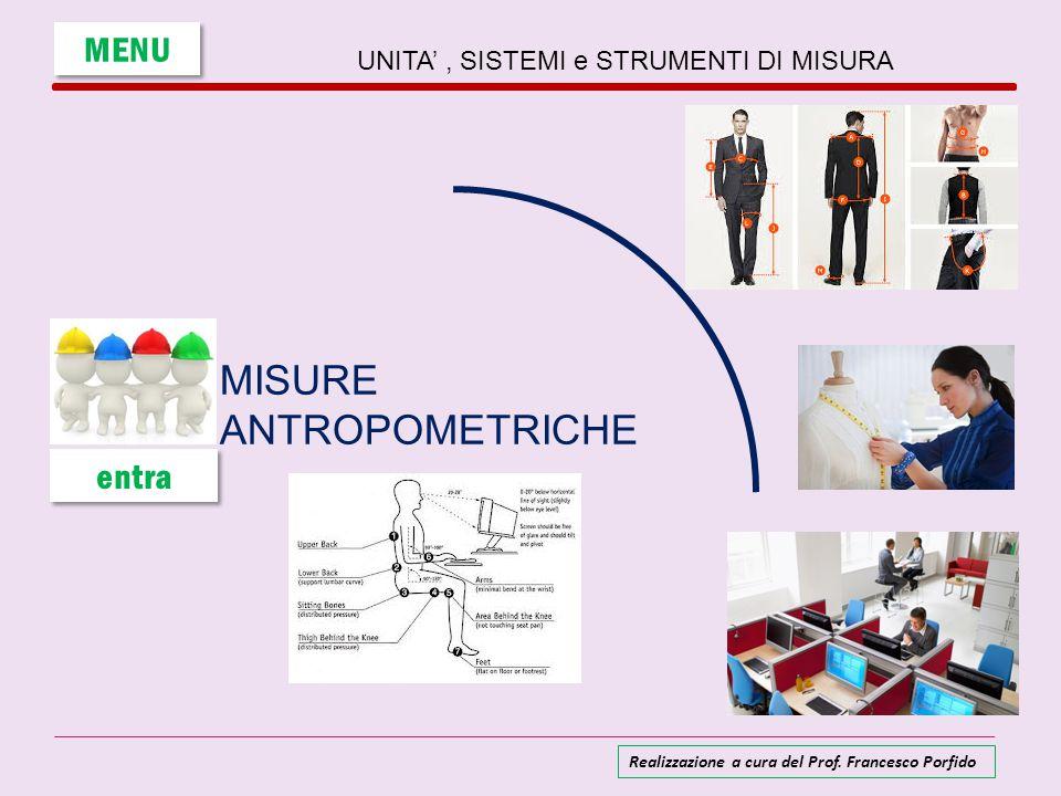 UNITA', SISTEMI e STRUMENTI DI MISURA MISURE ANTROPOMETRICHE MENU entra Realizzazione a cura del Prof. Francesco Porfido