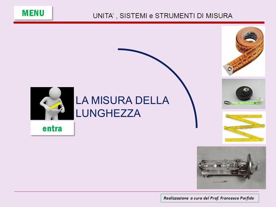 UNITA', SISTEMI e STRUMENTI DI MISURA LA MISURA DELLA LUNGHEZZA MENU entra Realizzazione a cura del Prof. Francesco Porfido