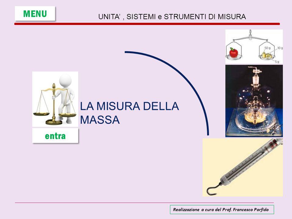 UNITA', SISTEMI e STRUMENTI DI MISURA LA MISURA DELLA MASSA MENU entra Realizzazione a cura del Prof. Francesco Porfido