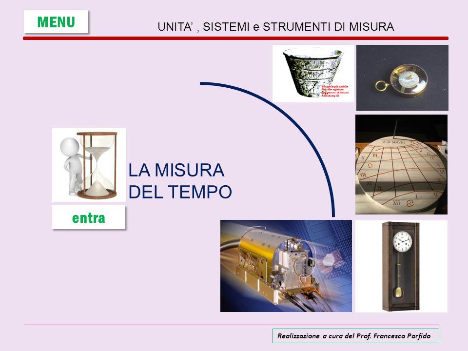 UNITA', SISTEMI e STRUMENTI DI MISURA LA MISURA DEL TEMPO MENU entra Realizzazione a cura del Prof. Francesco Porfido