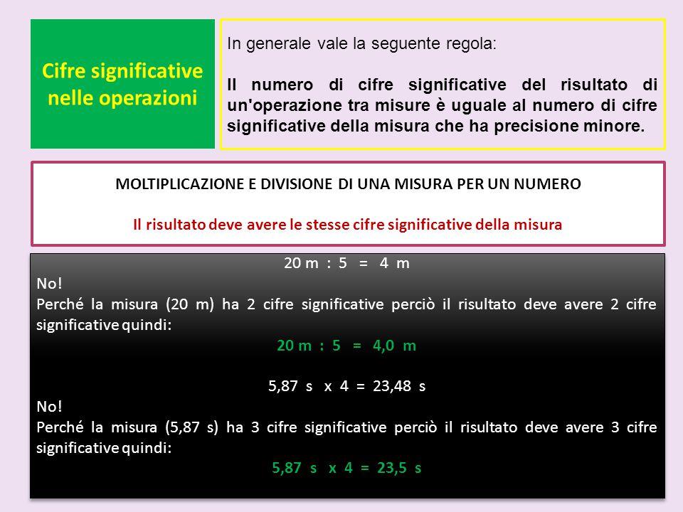 Cifre significative nelle operazioni In generale vale la seguente regola: Il numero di cifre significative del risultato di un'operazione tra misure è