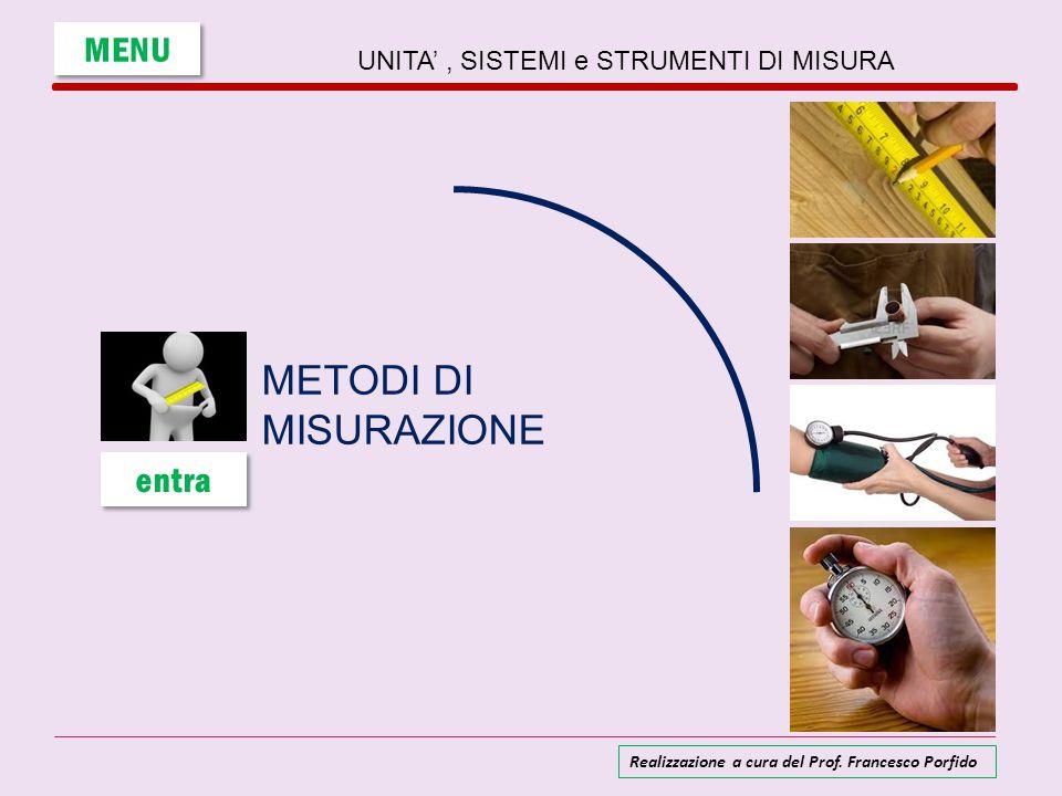 UNITA', SISTEMI e STRUMENTI DI MISURA METODI DI MISURAZIONE MENU entra Realizzazione a cura del Prof. Francesco Porfido