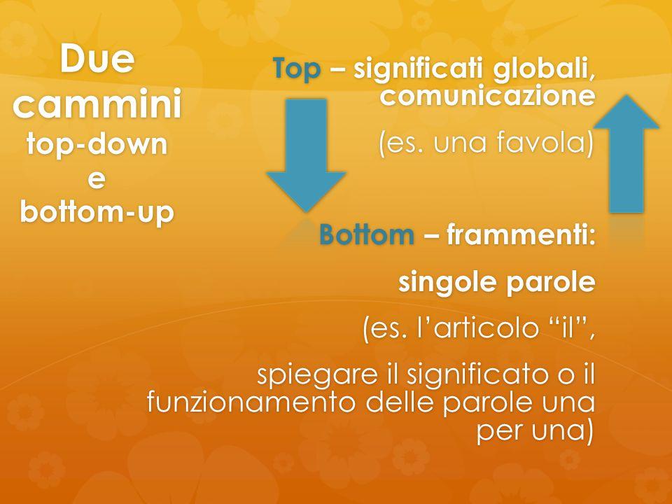 """Due cammini top-down e bottom-up Top – significati globali, comunicazione (es. una favola) Bottom – frammenti: singole parole (es. l'articolo """"il"""", sp"""