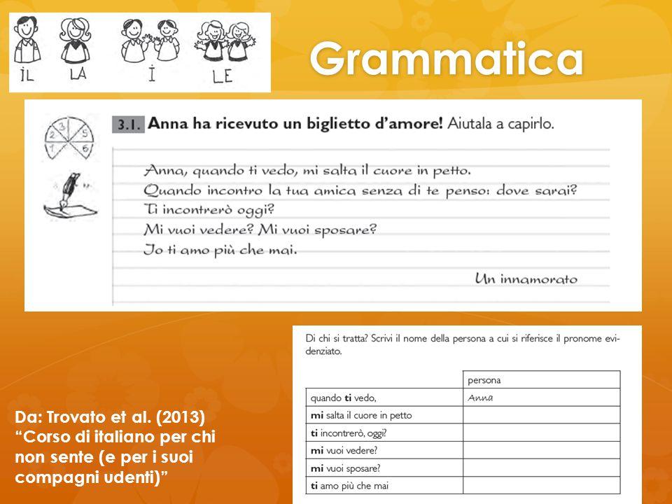 """Grammatica Da: Trovato et al. (2013) """"Corso di italiano per chi non sente (e per i suoi compagni udenti)"""""""