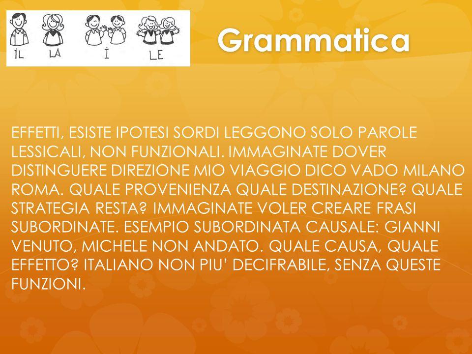 Grammatica EFFETTI, ESISTE IPOTESI SORDI LEGGONO SOLO PAROLE LESSICALI, NON FUNZIONALI.