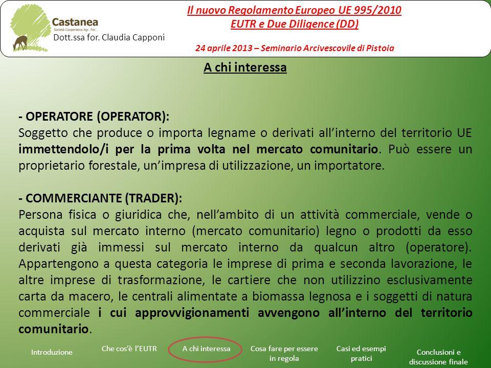 A chi interessa - OPERATORE (OPERATOR): Soggetto che produce o importa legname o derivati all'interno del territorio UE immettendolo/i per la prima vo