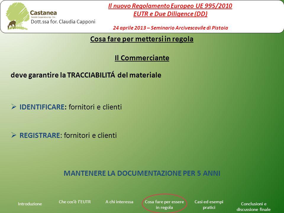 Introduzione A chi interessaChe cos'è l'EUTRCosa fare per essere in regola Casi ed esempi pratici Conclusioni e discussione finale Cosa fare per mettersi in regola Il Commerciante deve garantire la TRACCIABILITÁ del materiale  IDENTIFICARE: fornitori e clienti  REGISTRARE: fornitori e clienti MANTENERE LA DOCUMENTAZIONE PER 5 ANNI Il nuovo Regolamento Europeo UE 995/2010 EUTR e Due Diligence (DD) 24 aprile 2013 – Seminario Arcivescovile di Pistoia Dott.ssa for.