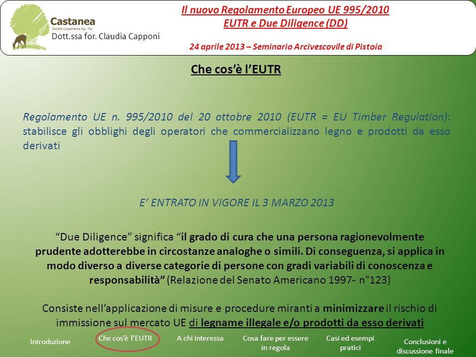 Introduzione A chi interessaChe cos'è l'EUTRCosa fare per essere in regola Casi ed esempi pratici Conclusioni e discussione finale Regolamento UE n.