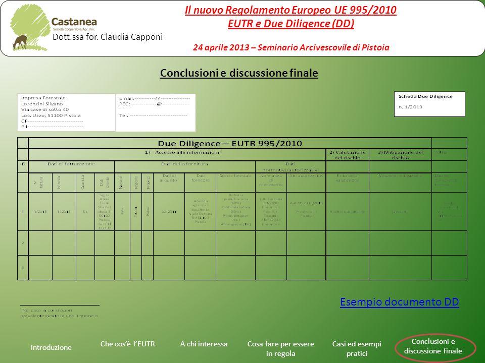 Introduzione A chi interessaChe cos'è l'EUTRCosa fare per essere in regola Casi ed esempi pratici Conclusioni e discussione finale Esempio documento D