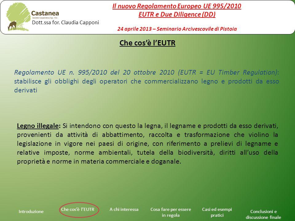 Che cos'è l'EUTR Introduzione A chi interessaChe cos'è l'EUTRCosa fare per essere in regola Casi ed esempi pratici Conclusioni e discussione finale Regolamento UE n.