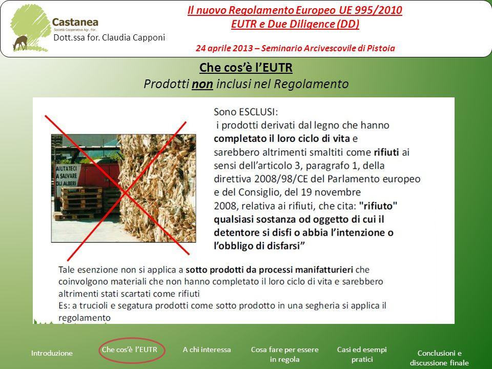 Che cos'è l'EUTR Prodotti non inclusi nel Regolamento Introduzione A chi interessaChe cos'è l'EUTRCosa fare per essere in regola Casi ed esempi pratic