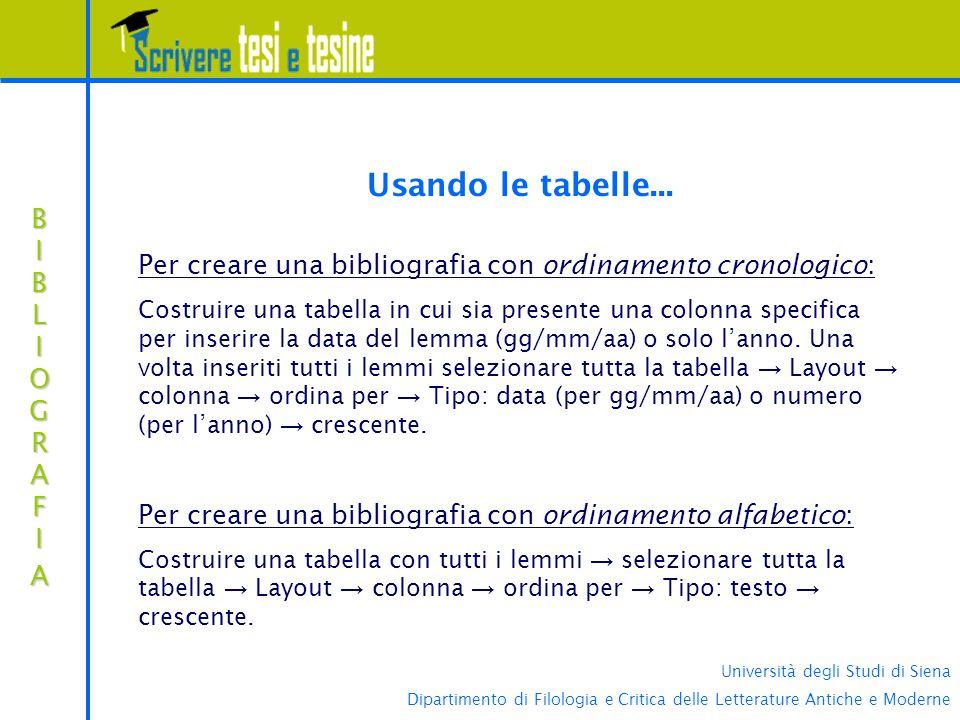 Università degli Studi di Siena Dipartimento di Filologia e Critica delle Letterature Antiche e Moderne BIBLIOGRAFIABIBLIOGRAFIABIBLIOGRAFIABIBLIOGRAFIA Usando le tabelle...