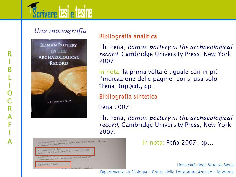 Università degli Studi di Siena Dipartimento di Filologia e Critica delle Letterature Antiche e Moderne BIBLIOGRAFIABIBLIOGRAFIABIBLIOGRAFIABIBLIOGRAFIA Bibliografia analitica Th.