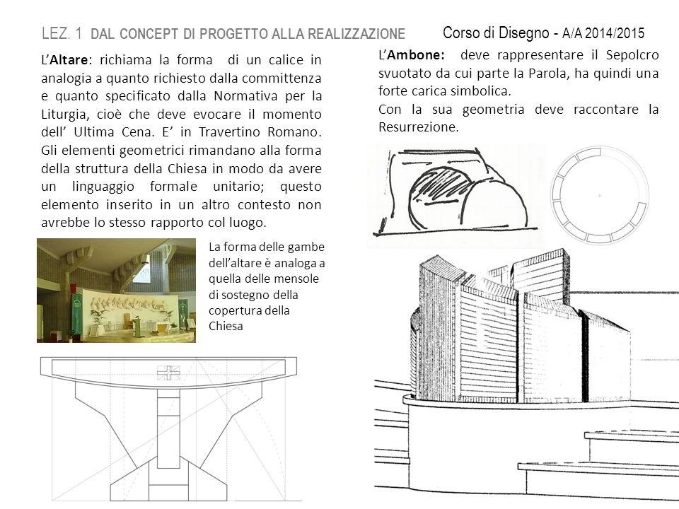 L'Altare: richiama la forma di un calice in analogia a quanto richiesto dalla committenza e quanto specificato dalla Normativa per la Liturgia, cioè che deve evocare il momento dell' Ultima Cena.