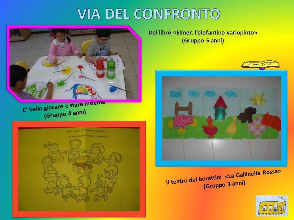Del libro «Elmer, l'elefantino variopinto» (Gruppo 5 anni) Il teatro dei burattini «La Gallinella Rossa» (Gruppo 3 anni) E' bello giocare e stare insi