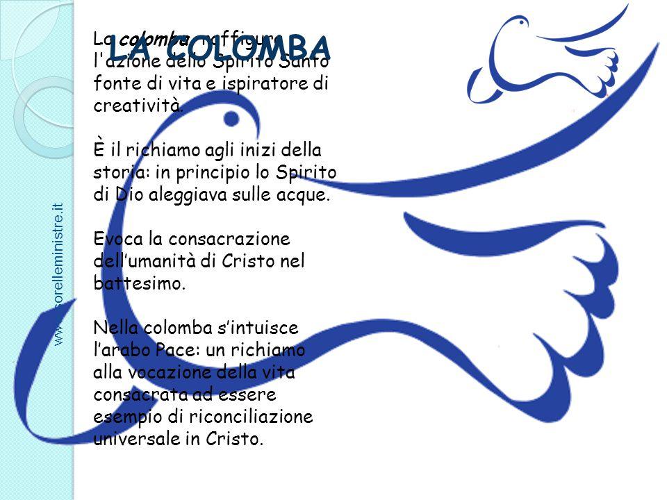 La colomba raffigura l'azione dello Spirito Santo fonte di vita e ispiratore di creatività. È il richiamo agli inizi della storia: in principio lo Spi