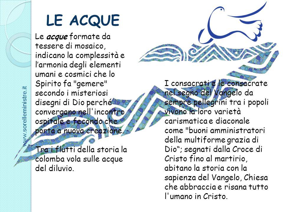 Le acque formate da tessere di mosaico, indicano la complessità e l'armonia degli elementi umani e cosmici che lo Spirito fa
