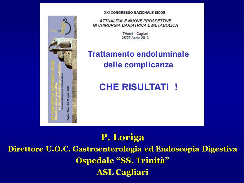 """P. Loriga Direttore U.O.C. Gastroenterologia ed Endoscopia Digestiva Ospedale """"SS. Trinità"""" ASL Cagliari Trattamento endoluminale delle complicanze CH"""