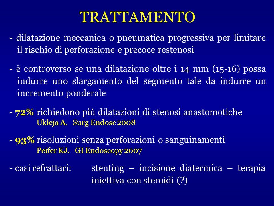 - dilatazione meccanica o pneumatica progressiva per limitare il rischio di perforazione e precoce restenosi - è controverso se una dilatazione oltre