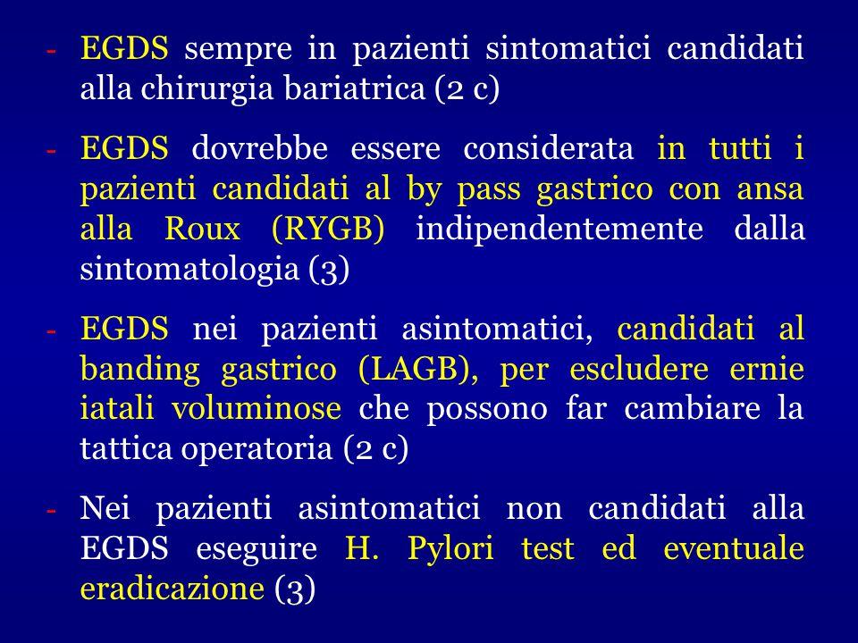 - EGDS sempre in pazienti sintomatici candidati alla chirurgia bariatrica (2 c) - EGDS dovrebbe essere considerata in tutti i pazienti candidati al by