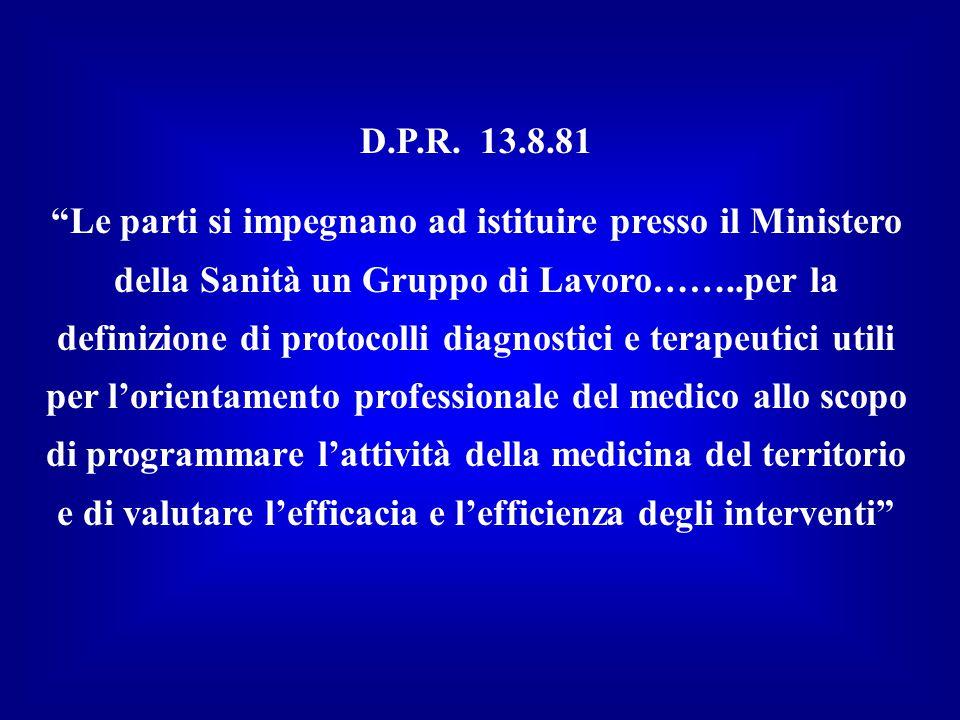 """D.P.R. 13.8.81 """"Le parti si impegnano ad istituire presso il Ministero della Sanità un Gruppo di Lavoro……..per la definizione di protocolli diagnostic"""