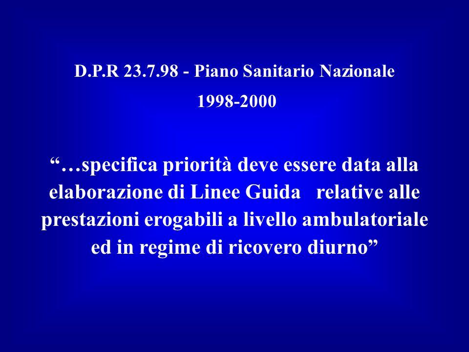 D.P.R 23.7.98 - Piano Sanitario Nazionale 1998-2000 …specifica priorità deve essere data alla elaborazione di Linee Guida relative alle prestazioni erogabili a livello ambulatoriale ed in regime di ricovero diurno