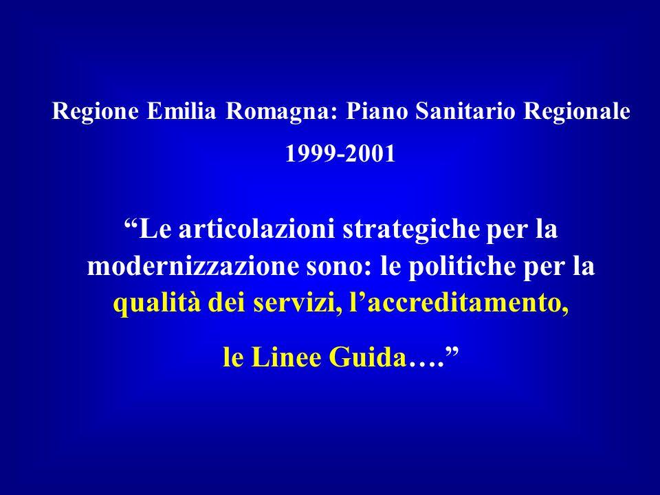 Regione Emilia Romagna: Piano Sanitario Regionale 1999-2001 Le articolazioni strategiche per la modernizzazione sono: le politiche per la qualità dei servizi, l'accreditamento, le Linee Guida….
