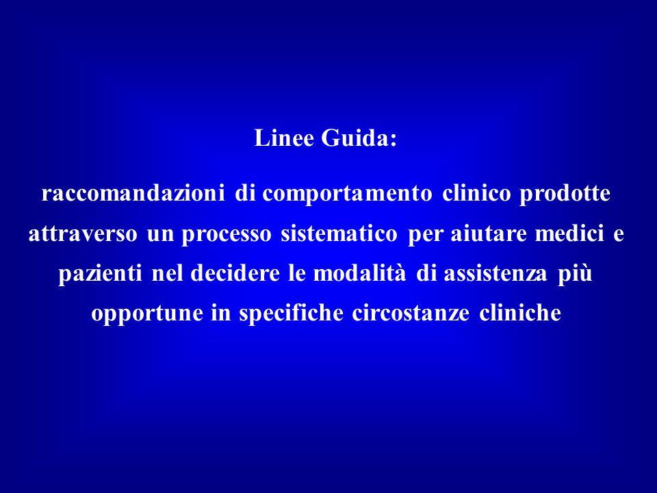 Linee Guida: raccomandazioni di comportamento clinico prodotte attraverso un processo sistematico per aiutare medici e pazienti nel decidere le modalità di assistenza più opportune in specifiche circostanze cliniche