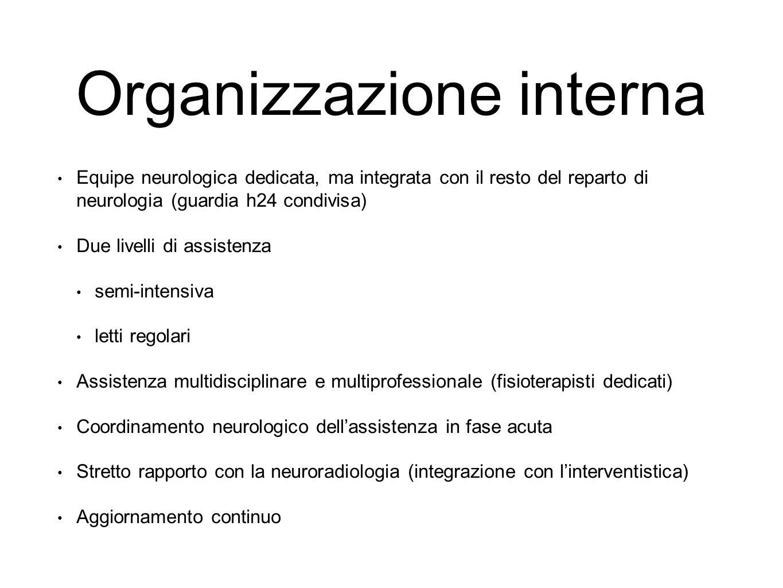 Organizzazione interna Equipe neurologica dedicata, ma integrata con il resto del reparto di neurologia (guardia h24 condivisa) Due livelli di assiste