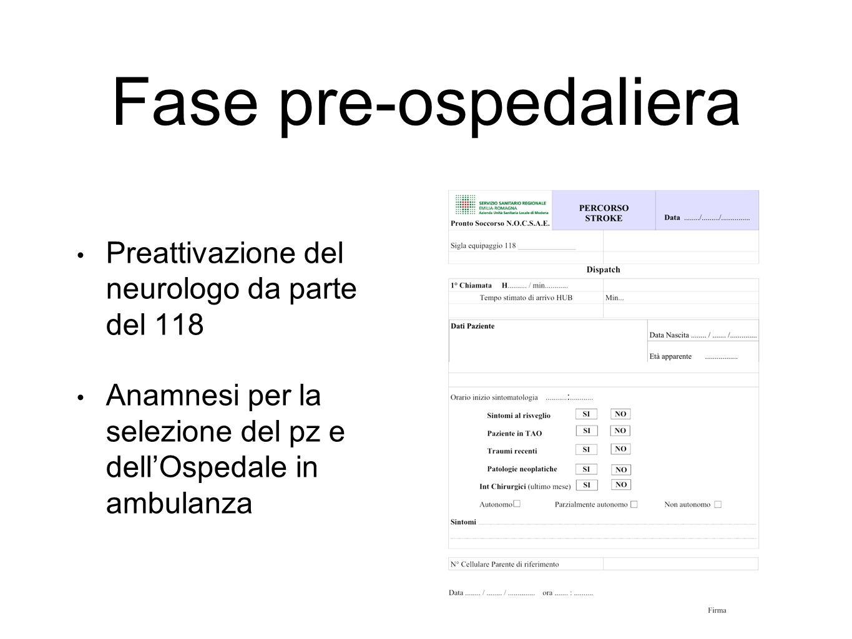 Fase pre-ospedaliera Preattivazione del neurologo da parte del 118 Anamnesi per la selezione del pz e dell'Ospedale in ambulanza