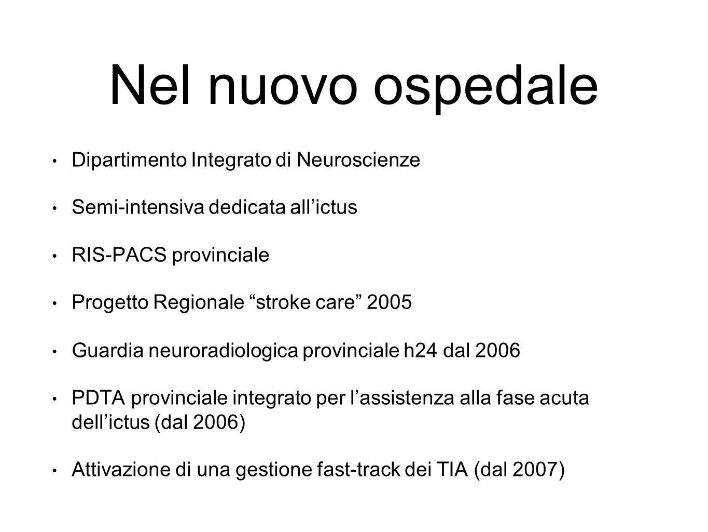 Nel nuovo ospedale Dipartimento Integrato di Neuroscienze Semi-intensiva dedicata all'ictus RIS-PACS provinciale Progetto Regionale stroke care 2005 Guardia neuroradiologica provinciale h24 dal 2006 PDTA provinciale integrato per l'assistenza alla fase acuta dell'ictus (dal 2006) Attivazione di una gestione fast-track dei TIA (dal 2007)