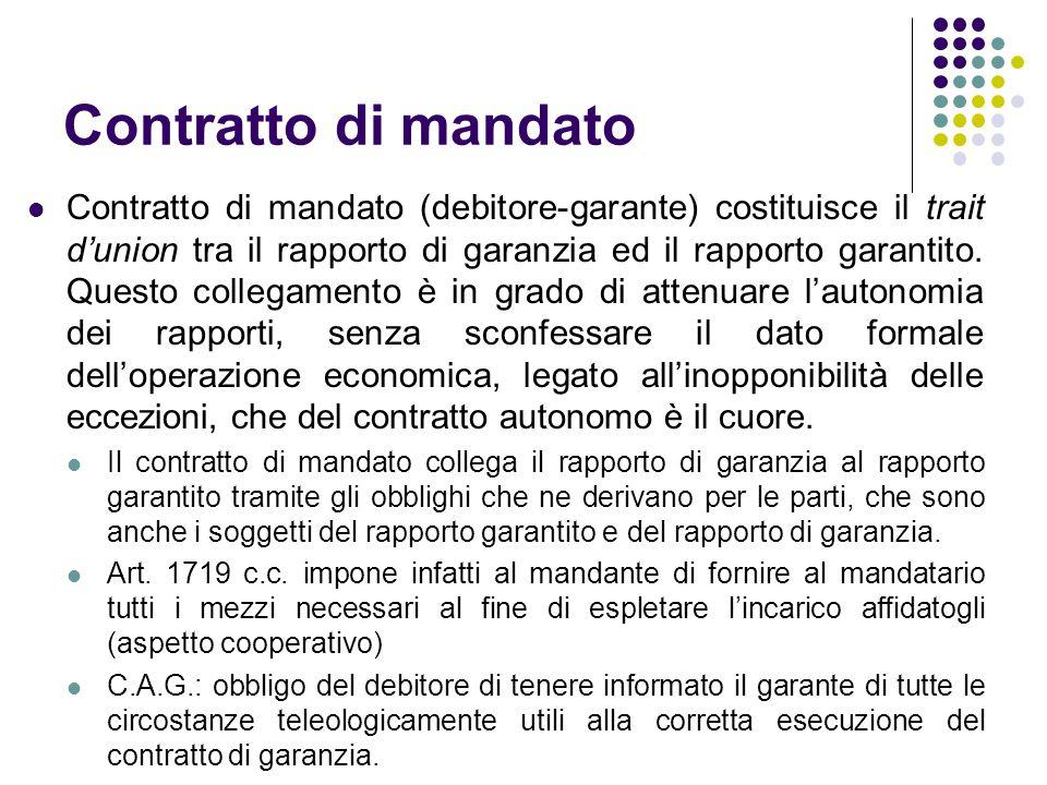 Contratto di mandato Contratto di mandato (debitore-garante) costituisce il trait d'union tra il rapporto di garanzia ed il rapporto garantito. Questo