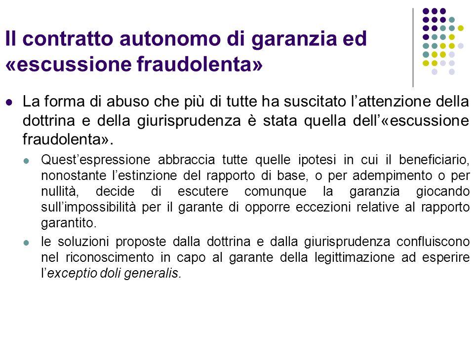 Il contratto autonomo di garanzia ed «escussione fraudolenta» La forma di abuso che più di tutte ha suscitato l'attenzione della dottrina e della giurisprudenza è stata quella dell'«escussione fraudolenta».