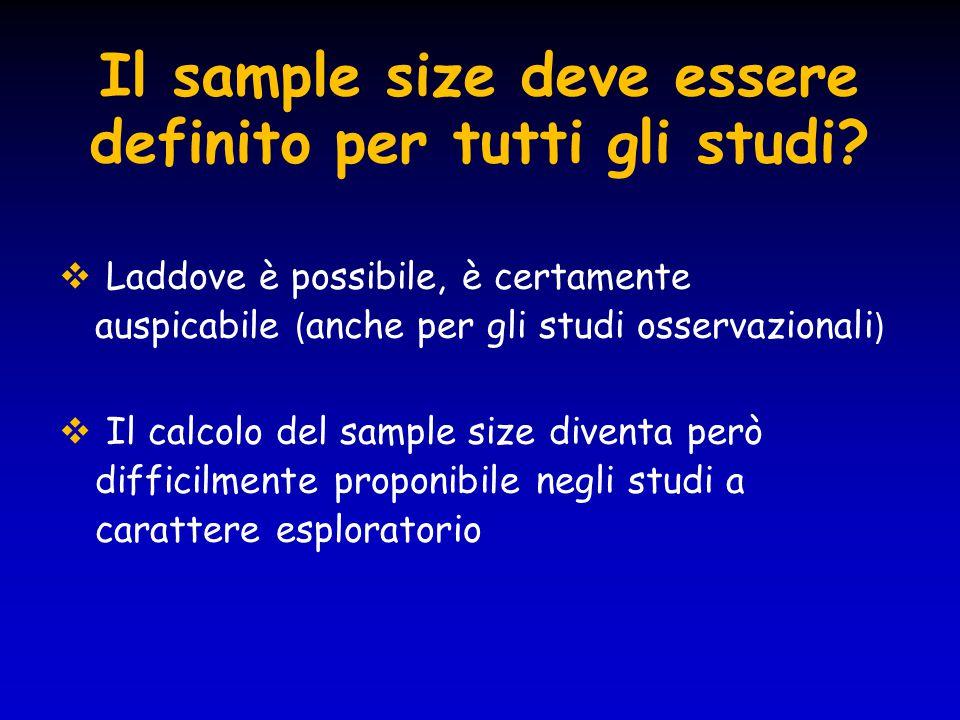 Il sample size deve essere definito per tutti gli studi?  Laddove è possibile, è certamente auspicabile ( anche per gli studi osservazionali )  Il c