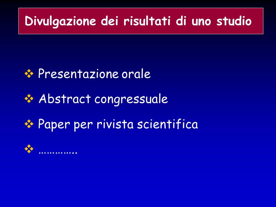  Presentazione orale  Abstract congressuale  Paper per rivista scientifica  ………….. Divulgazione dei risultati di uno studio