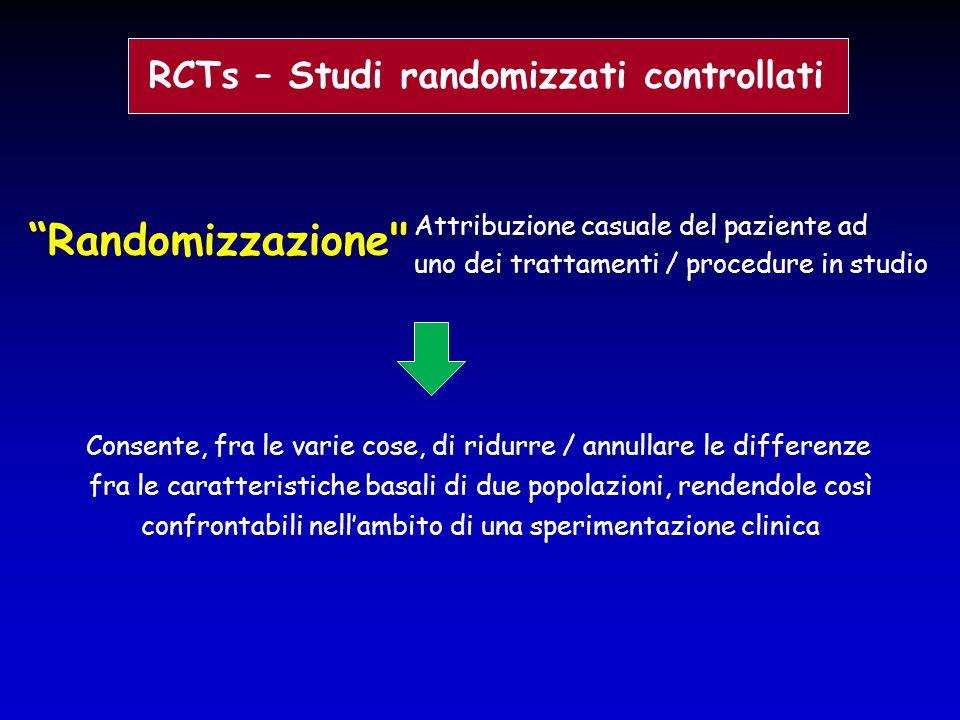 """RCTs – Studi randomizzati controllati """"Randomizzazione"""