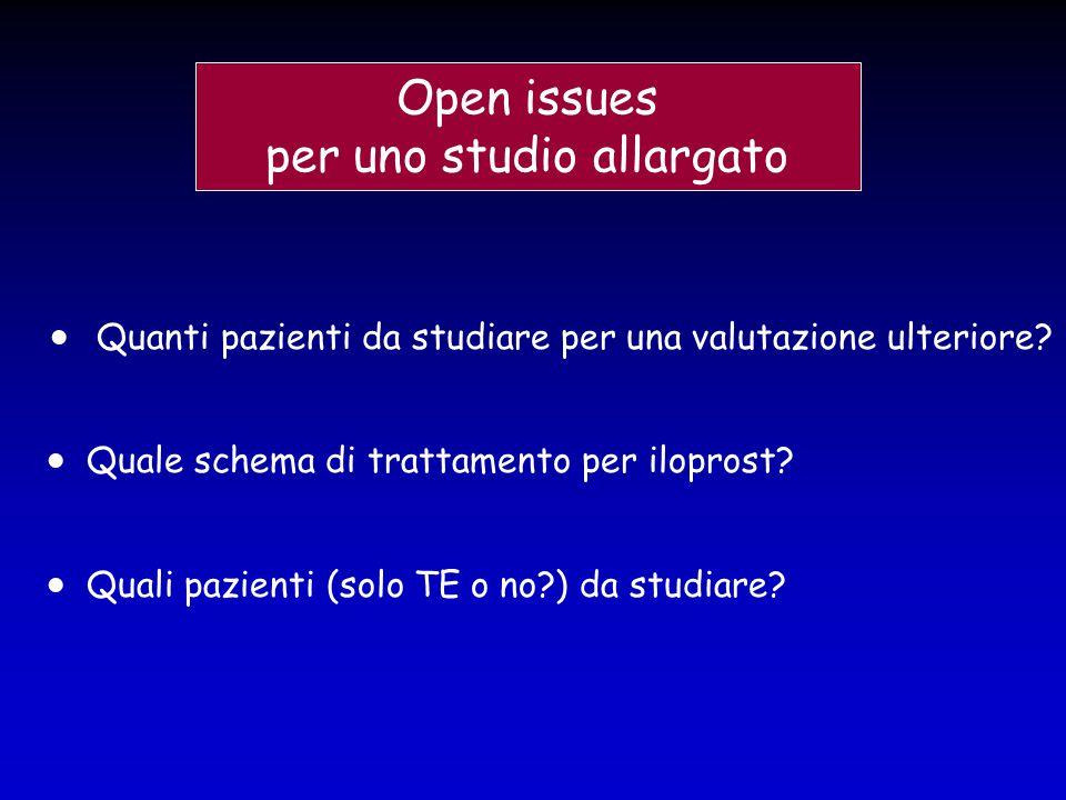 Open issues per uno studio allargato  Quanti pazienti da studiare per una valutazione ulteriore?  Quali pazienti (solo TE o no?) da studiare?  Qual