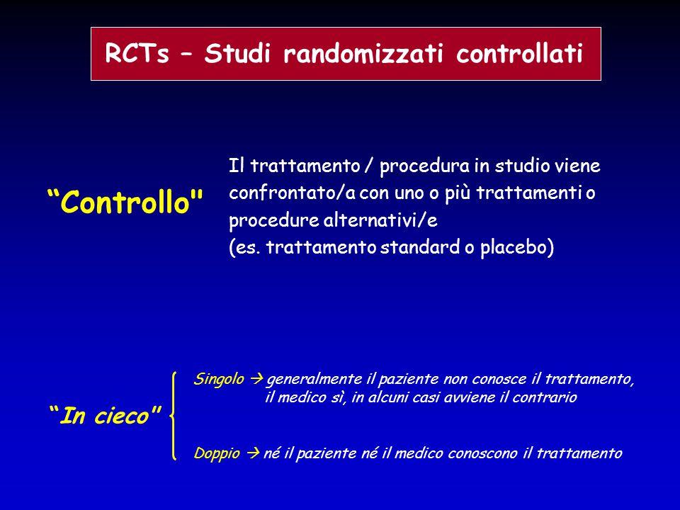 """RCTs – Studi randomizzati controllati """"Controllo"""