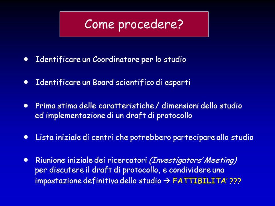 Come procedere?  Identificare un Coordinatore per lo studio  Identificare un Board scientifico di esperti  Prima stima delle caratteristiche / dime