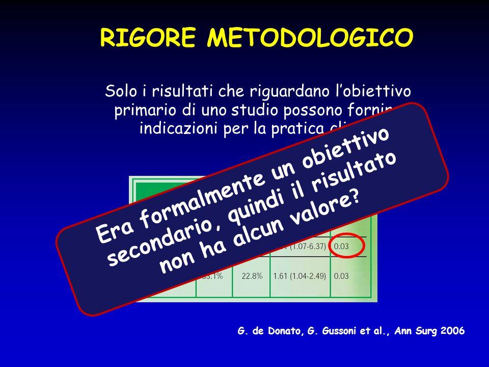 RIGORE METODOLOGICO  Solo i risultati che riguardano l'obiettivo primario di uno studio possono fornire indicazioni per la pratica clinica G. de Dona
