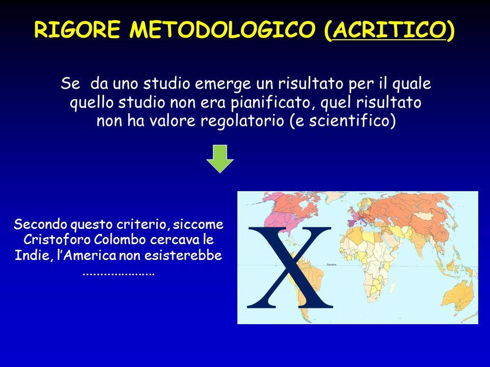 RIGORE METODOLOGICO (ACRITICO)  Se da uno studio emerge un risultato per il quale quello studio non era pianificato, quel risultato non ha valore reg